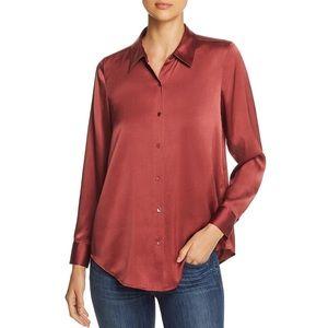 Eileen Fisher Silk Burgundy Blouse L NWT $278